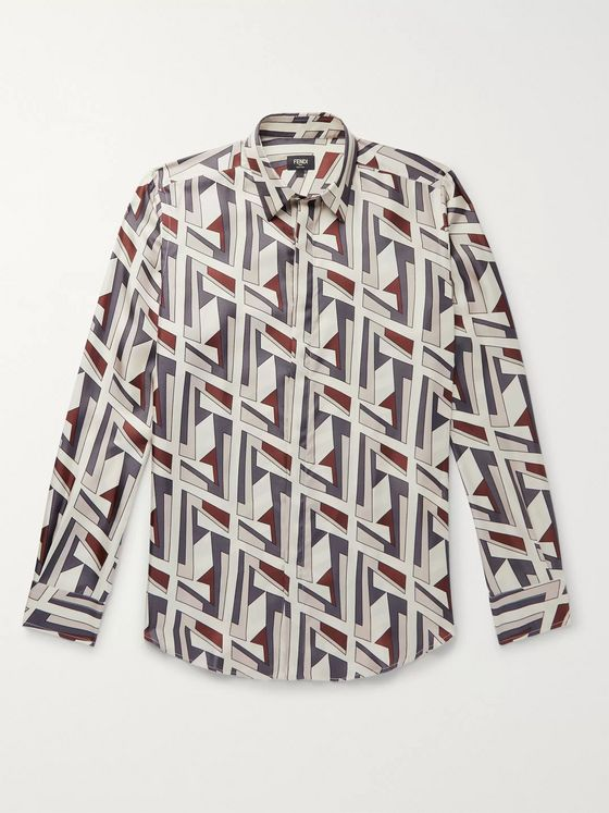 Fendi Logo-Print Silk-Twill Shirt