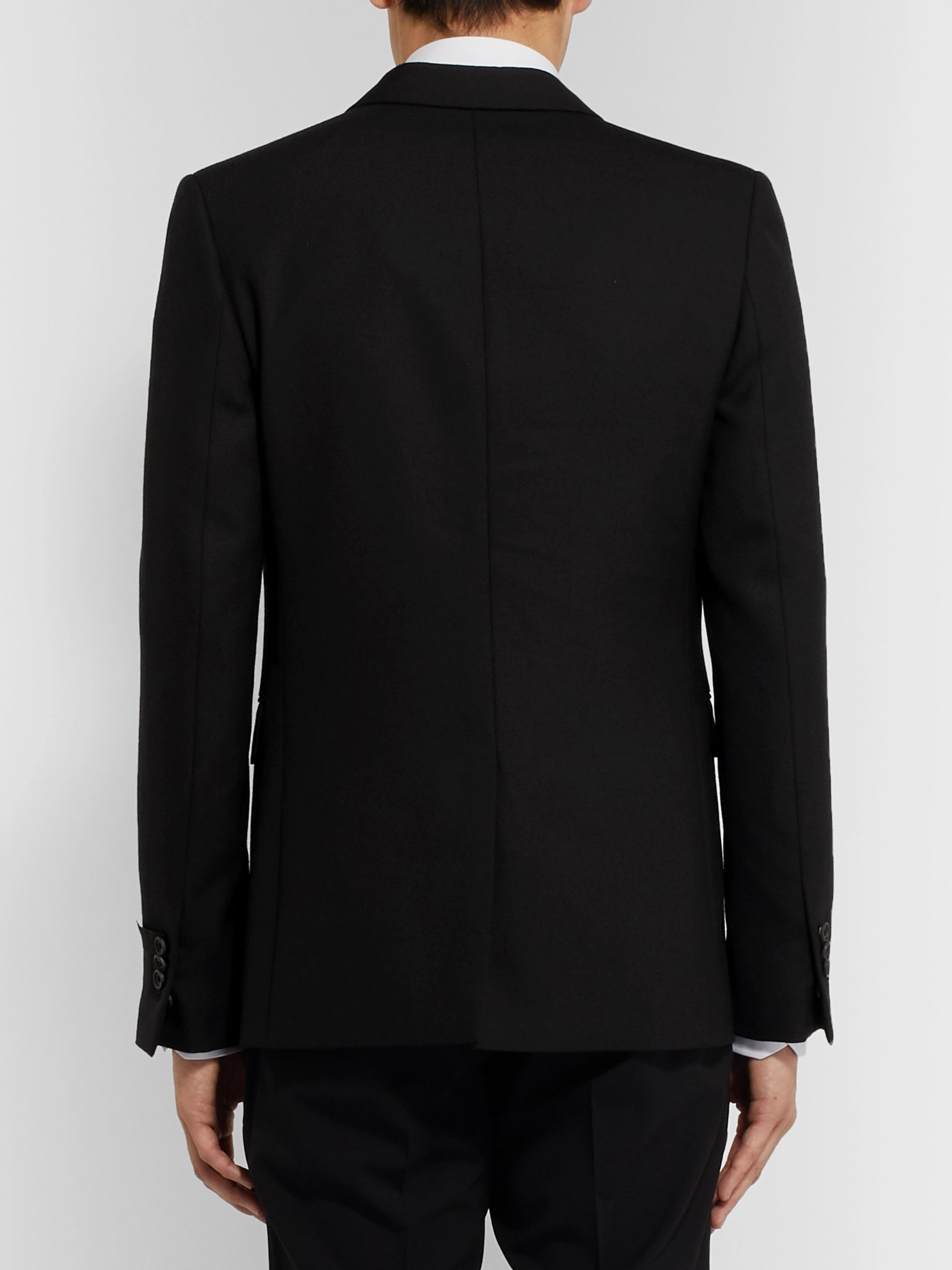 Fendi Black Slim-Fit Woven Suit Jacket