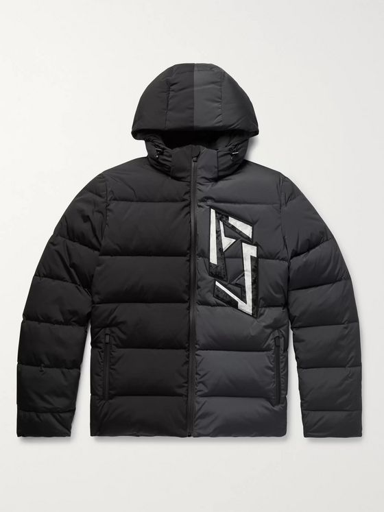 Fendi Slim-Fit Logo-Appliquéd Colour-Block Quilted Nylon-Blend Hooded Down Jacket