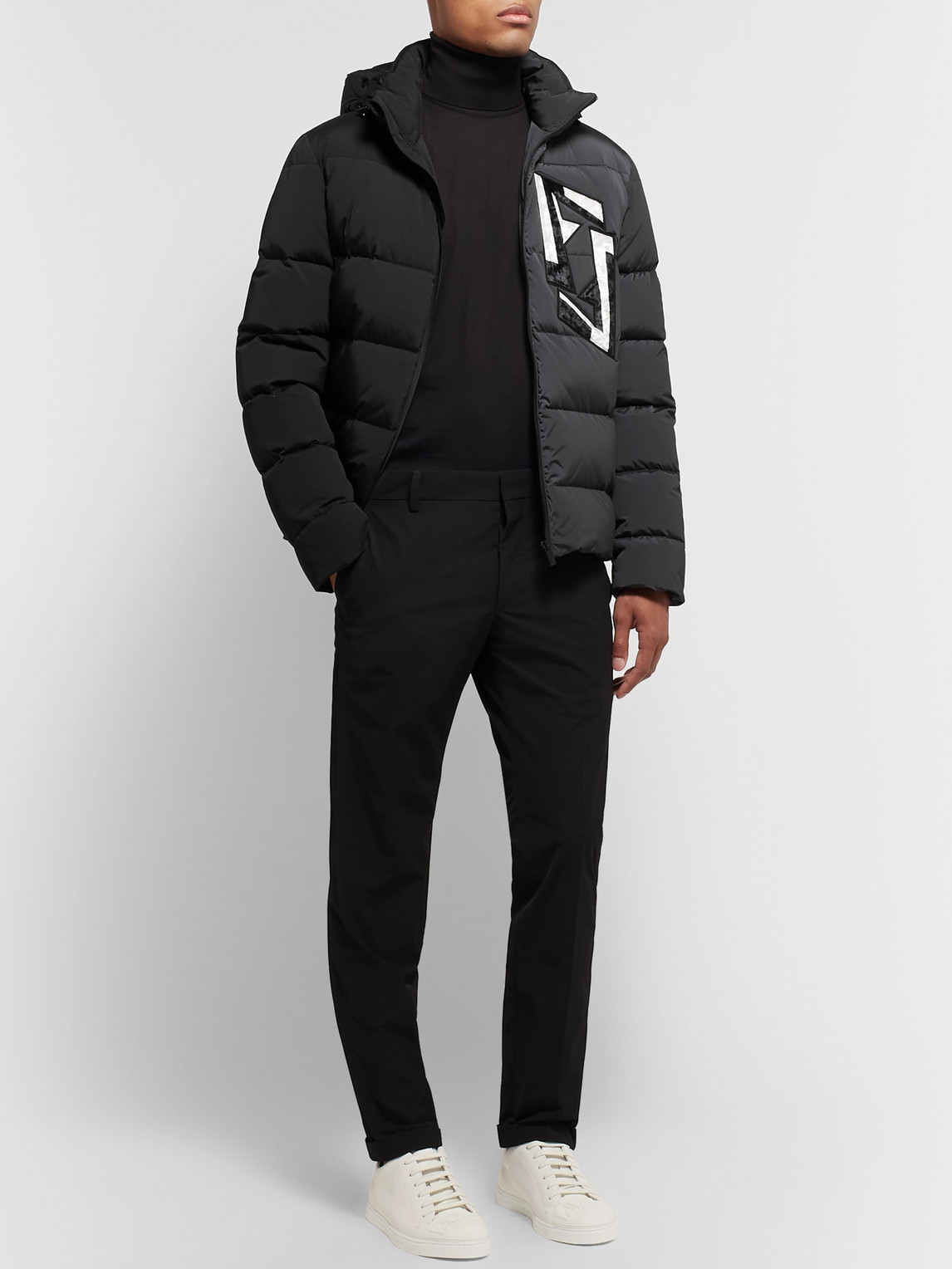 Fendi Jackets SLIM-FIT LOGO-APPLIQUÉD COLOUR-BLOCK QUILTED NYLON-BLEND HOODED DOWN JACKET
