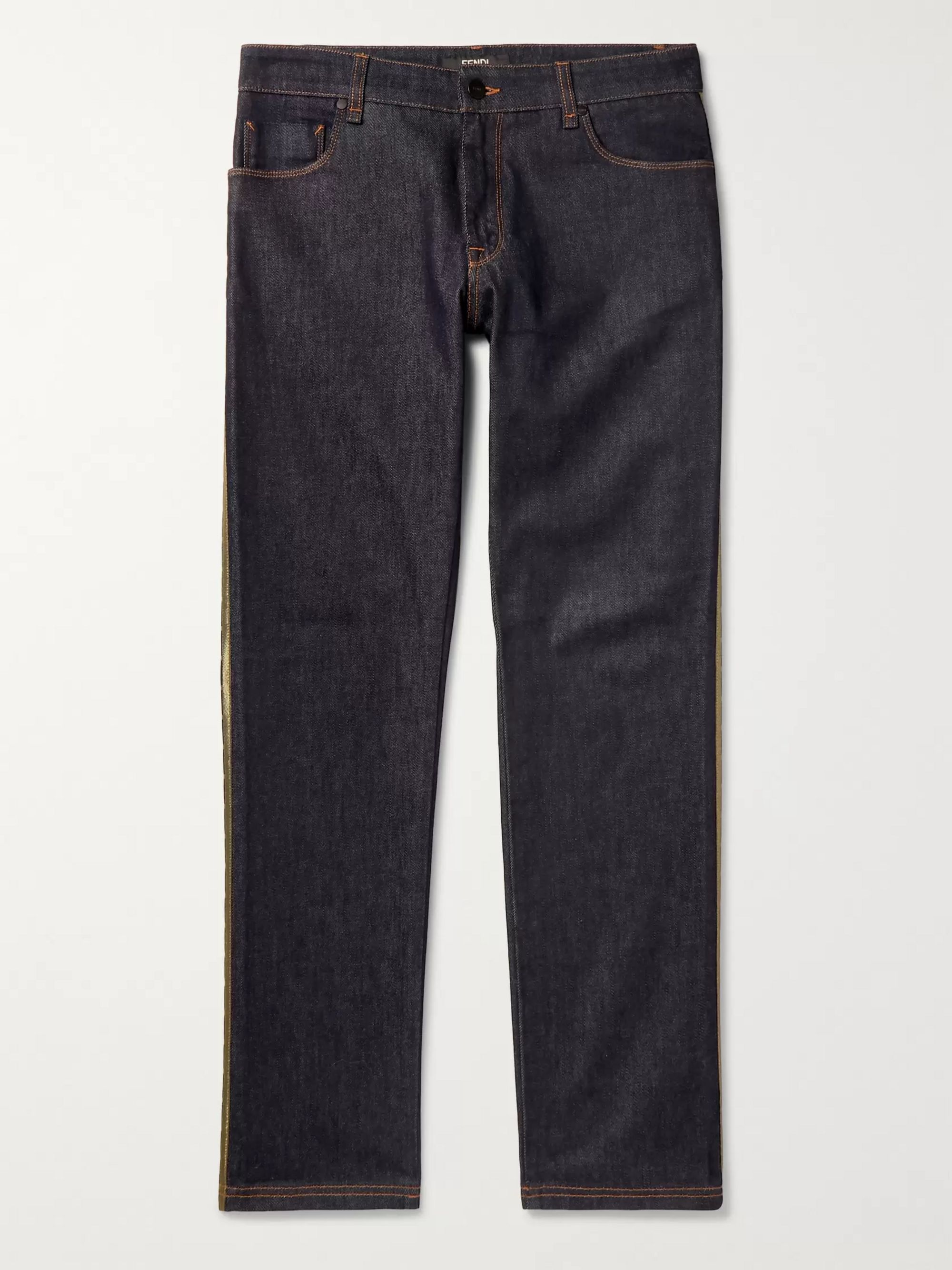 Fendi Slim-Fit Logo-Trimmed Denim Jeans