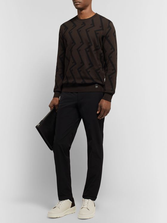 Fendi Logo-Jacquard Wool Sweater