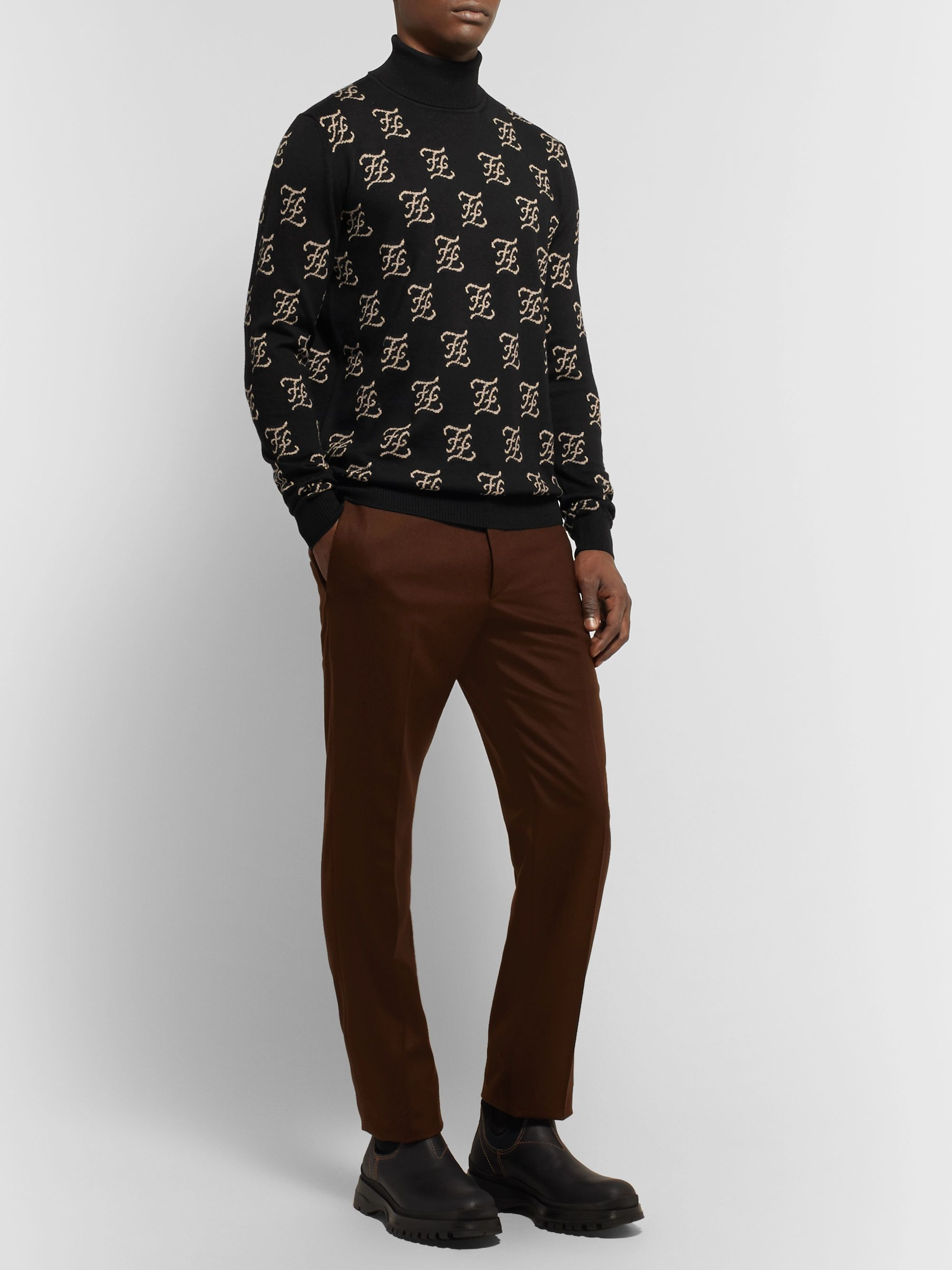 Fendi Logo-Jacquard Wool Rollneck Sweater
