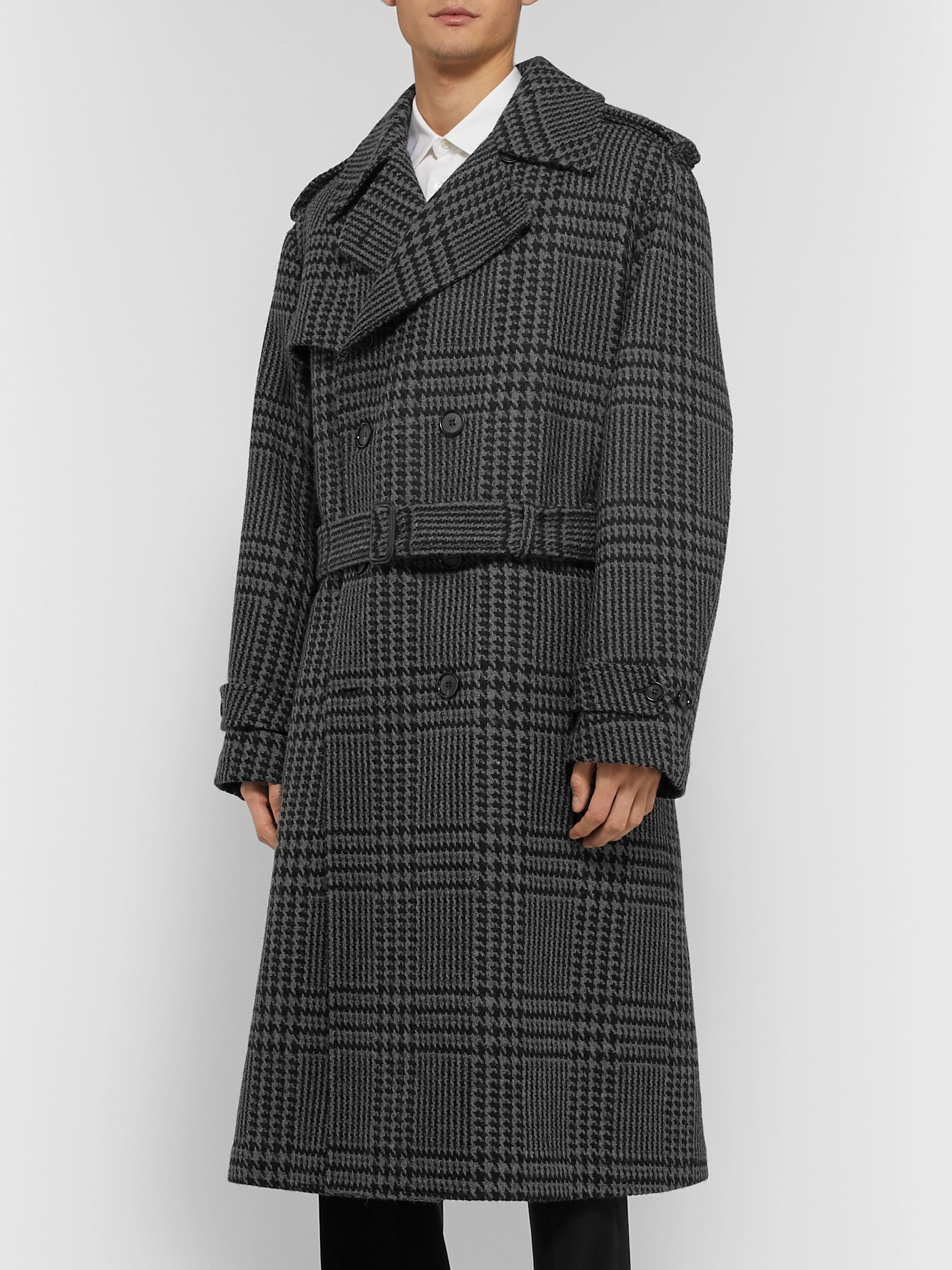 Alexander McQueen Double-Breasted Houndstooth Wool Coat