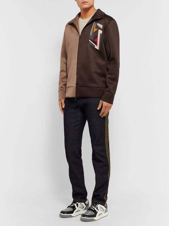 Fendi Logo-Print Two-Tone Tech-Jersey Track Jacket