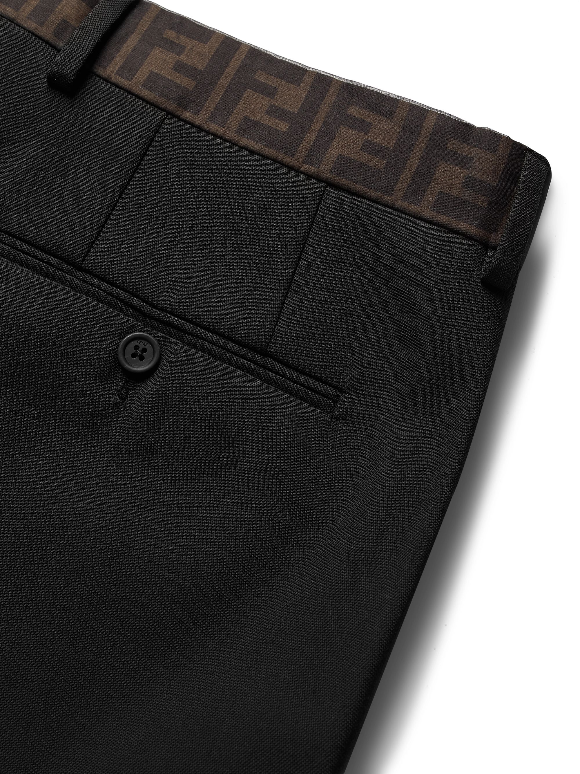 Fendi Black Slim-Fit Logo-Trimmed Woven Trousers