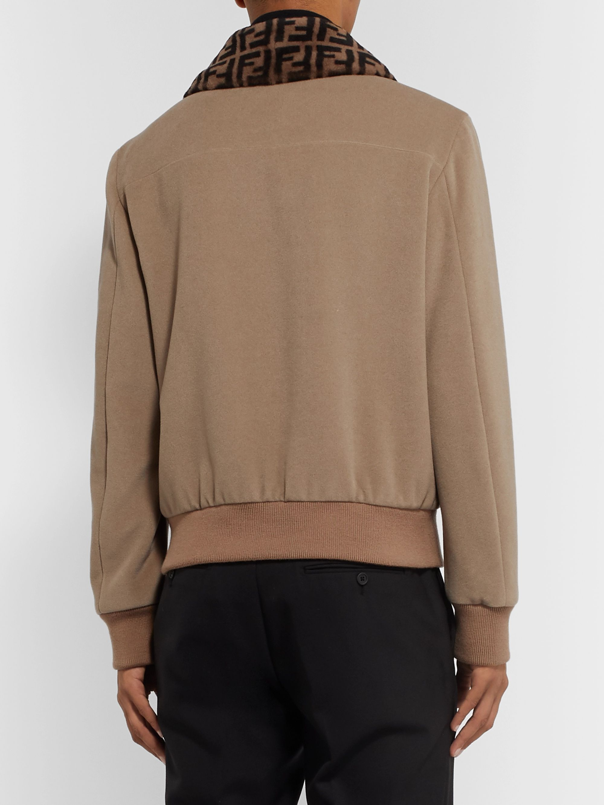 Fendi Shearling-Trimmed Wool-Fleece Blouson Jacket