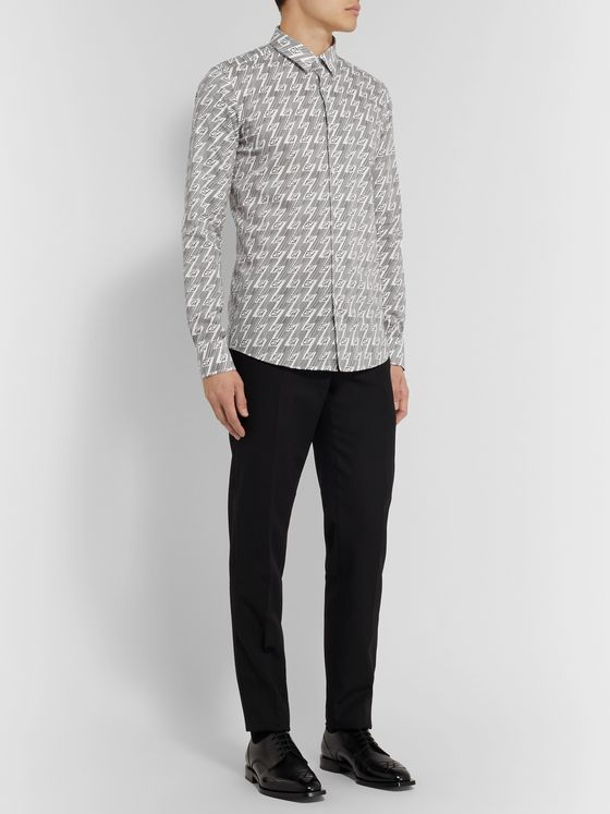 Fendi Slim-Fit Logo-Print Cotton-Blend Poplin Shirt