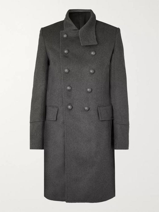 Balmain Slim-Fit Double-Breasted Wool and Cashmere-Blend Coat