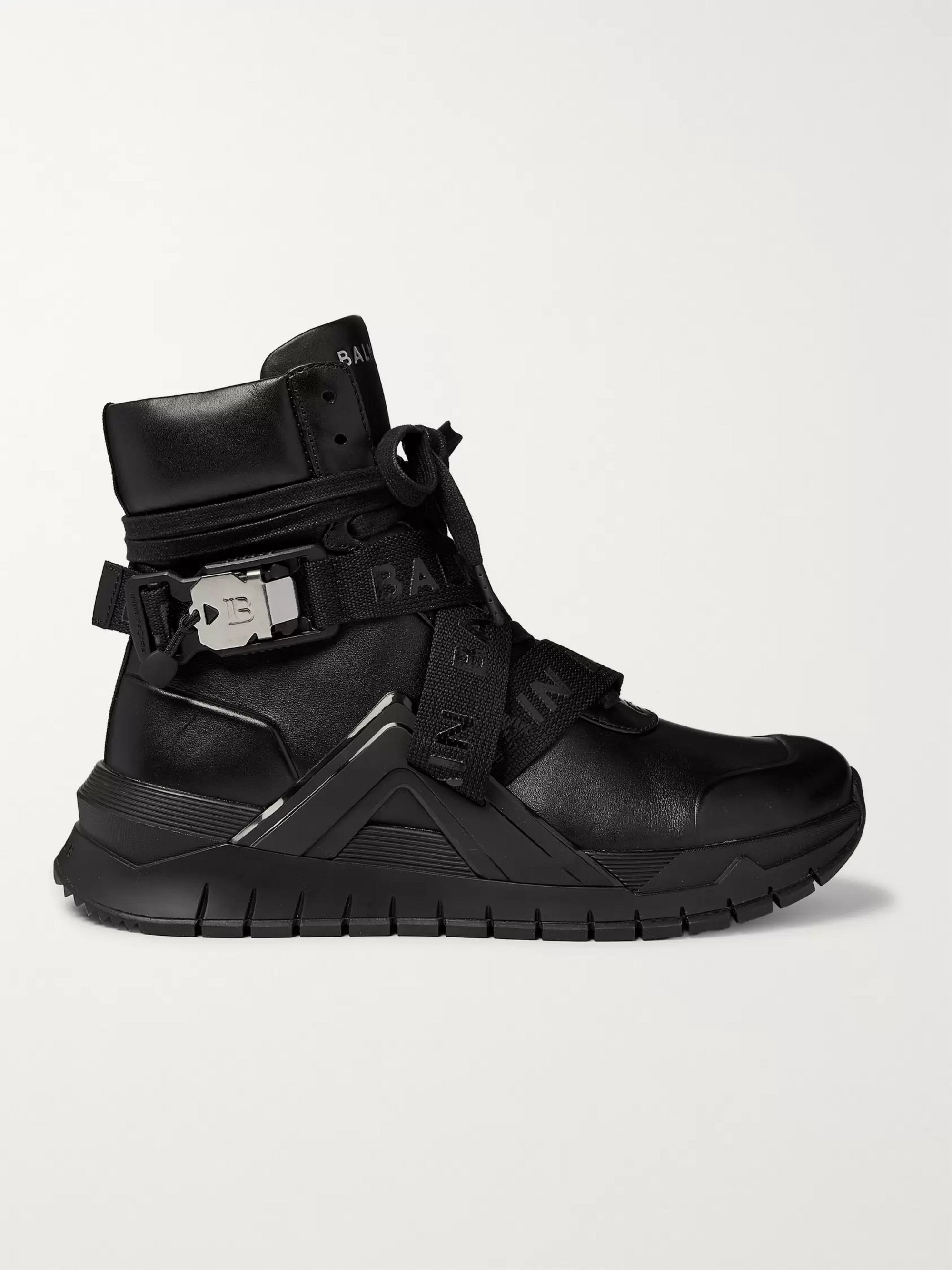 Balmain B-Troop Webbing-Trimmed Leather Sneakers