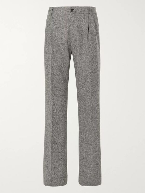 Dolce & Gabbana Fantasia Wide-Leg Pleated Birdseye Wool and Cashmere-Blend Trousers