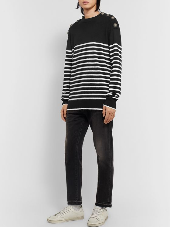 Balmain Ribbed Striped Virgin Wool Sweater