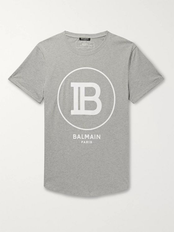 Balmain Logo-Flocked Mélange Cotton-Jersey T-Shirt