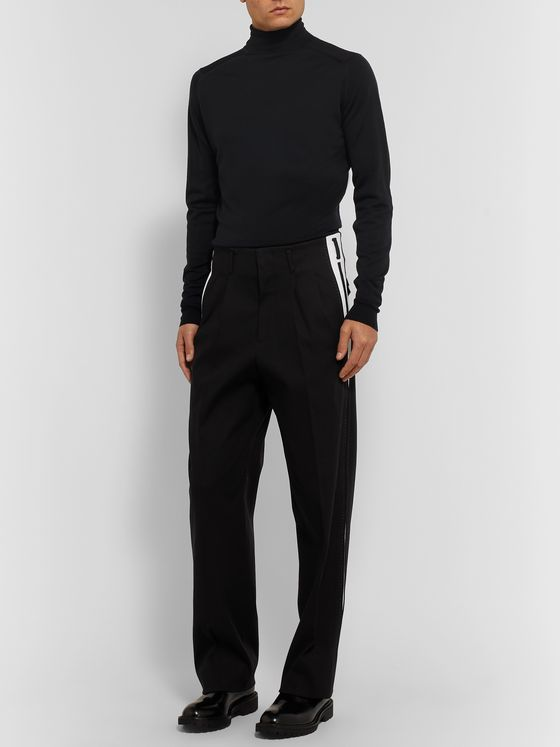 Dolce & Gabbana Panelled Pleated Cotton-Blend Trousers