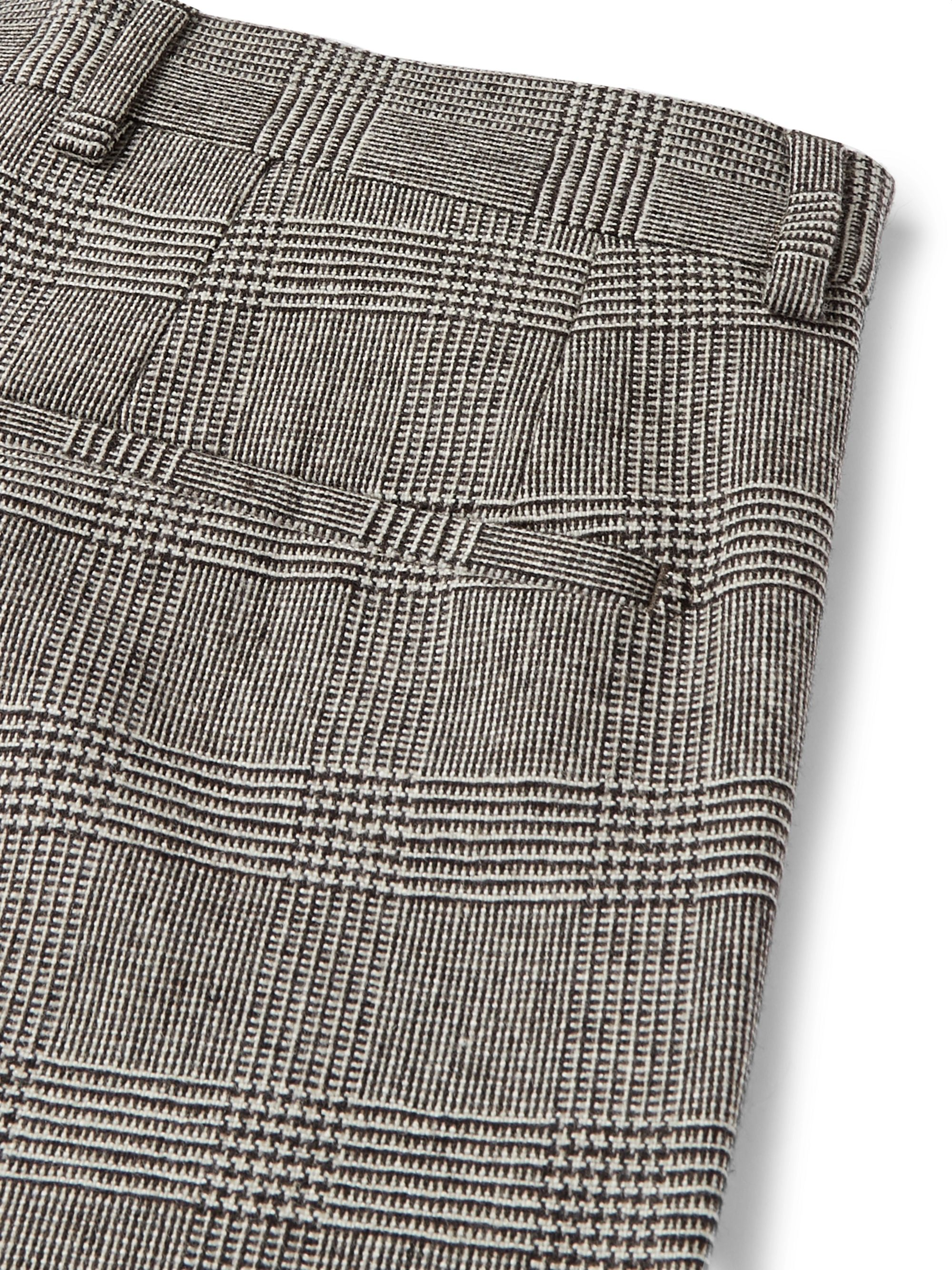 Dolce & Gabbana Slim-Fit Prince of Wales Checked Wool-Blend Trousers