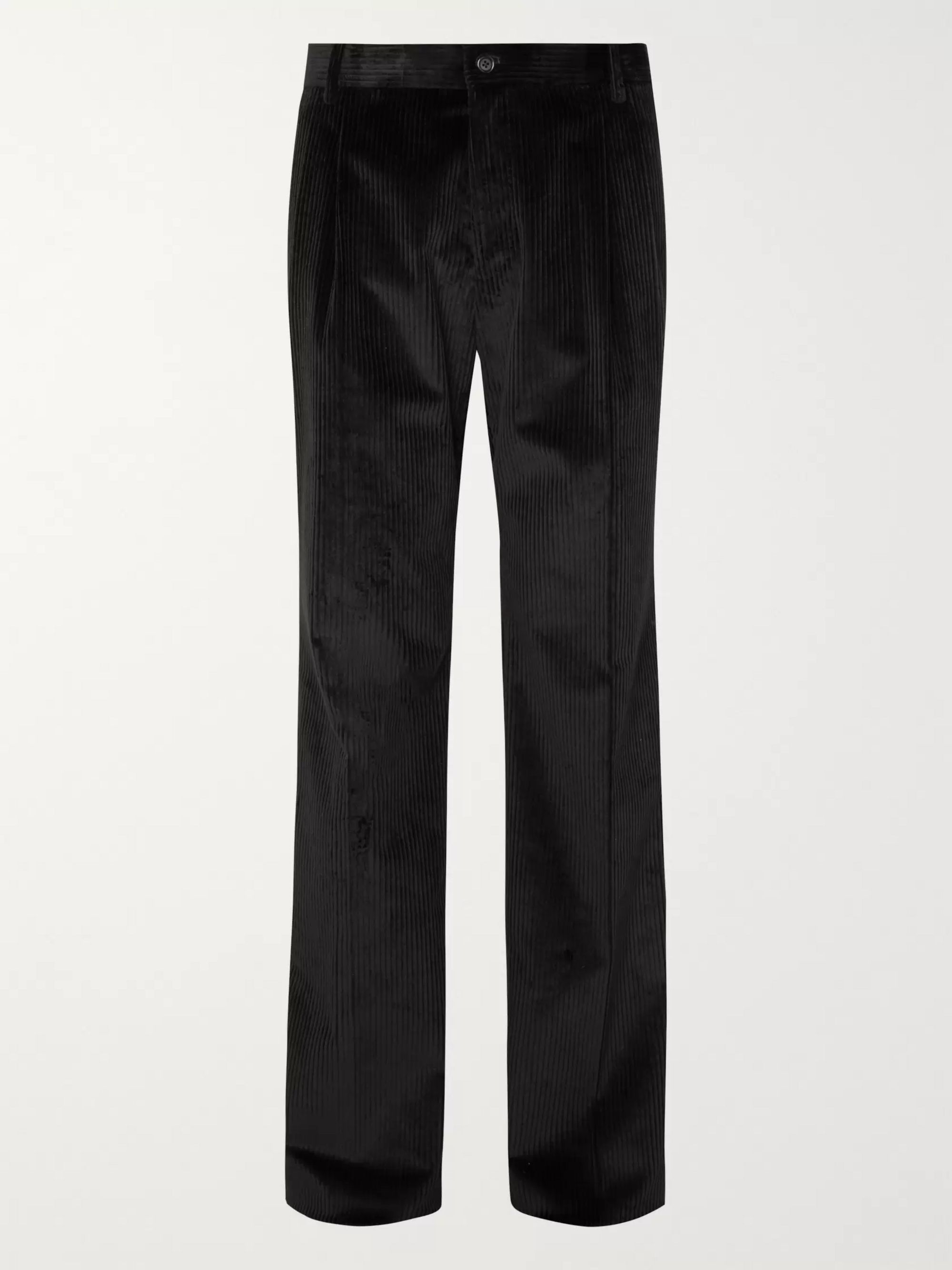 Dolce & Gabbana Black Pleated Cotton-Blend Corduroy Trousers