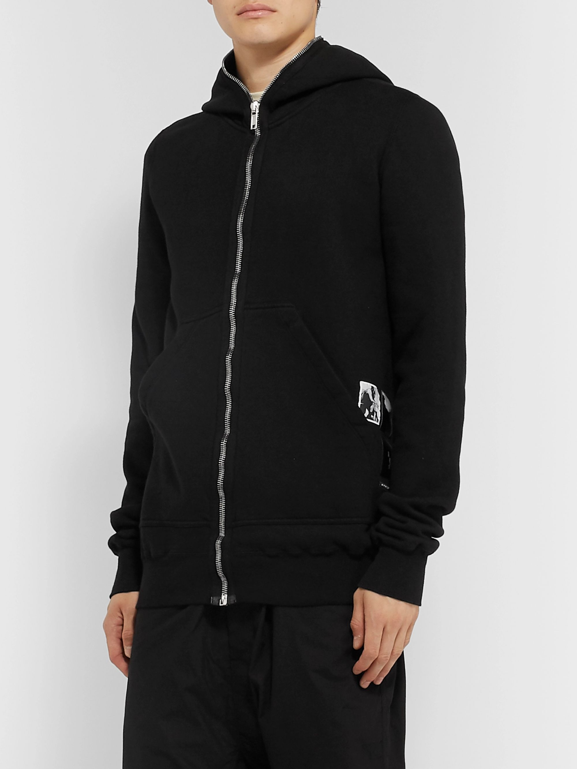 Rick Owens Appliquéd Fleece-Back Cotton-Jersey Zip-Up Hoodie