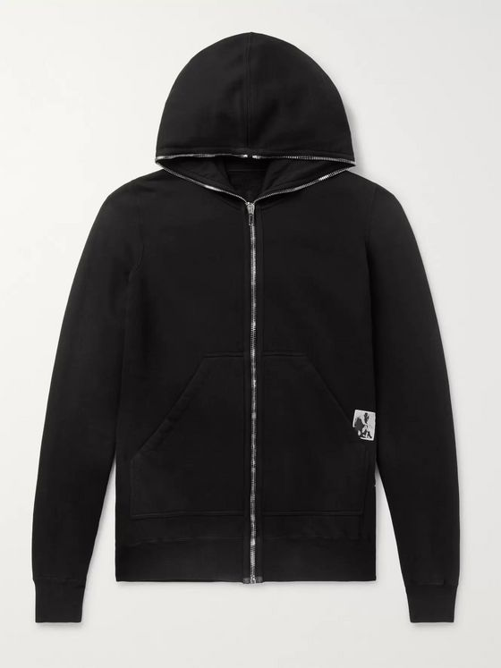 Rick Owens Appliquéd Fleece-Back Cotton-Jersey Hoodie