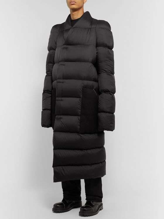 Rick Owens Oversized Suede-Trimmed Quilted Shell Down Coat