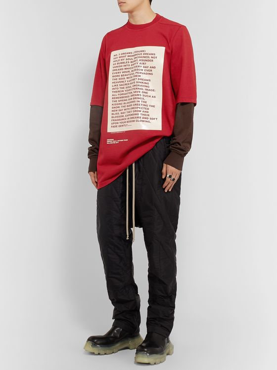Rick Owens Hustler Oversized Layered Printed Cotton-Jersey Sweatshirt