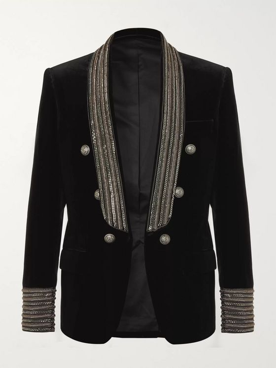 Balmain Black Slim-Fit Embellished Cotton-Velvet Blazer