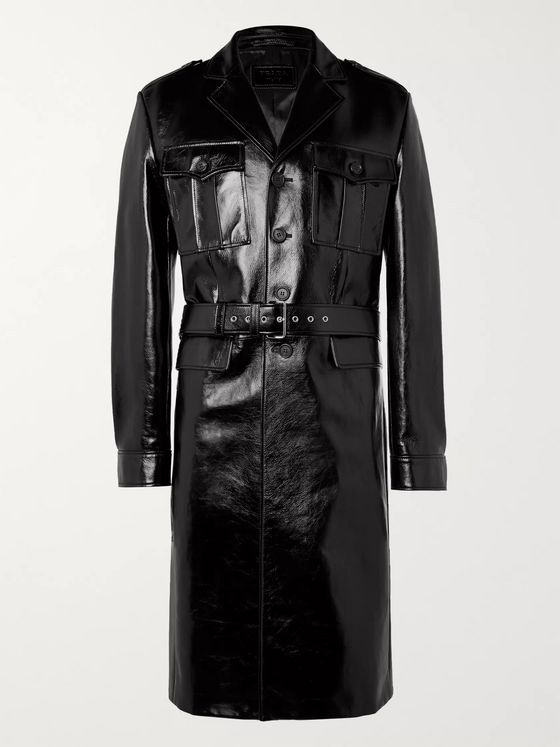 Prada Belted Patent-Leather Trench Coat