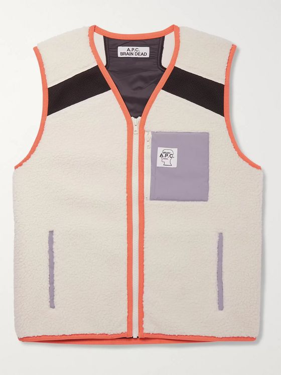 A.P.C. + Brain Dead Contrast-Tipped Mesh-Panelled Fleece Gilet