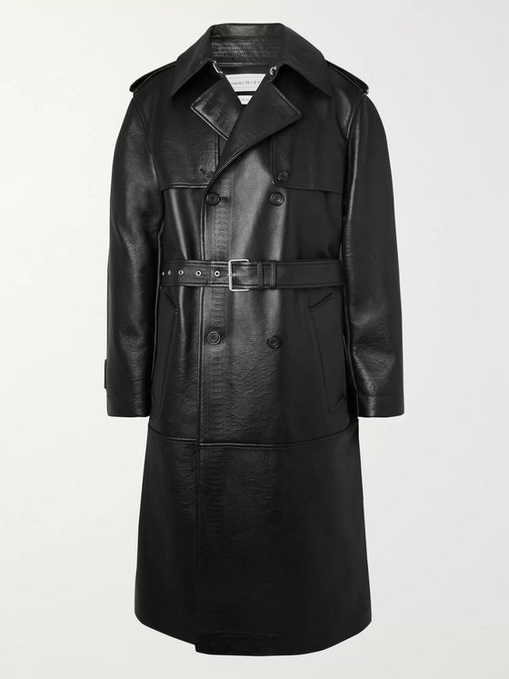 Alexander McQueen Lace-Effect Leather Trench Coat