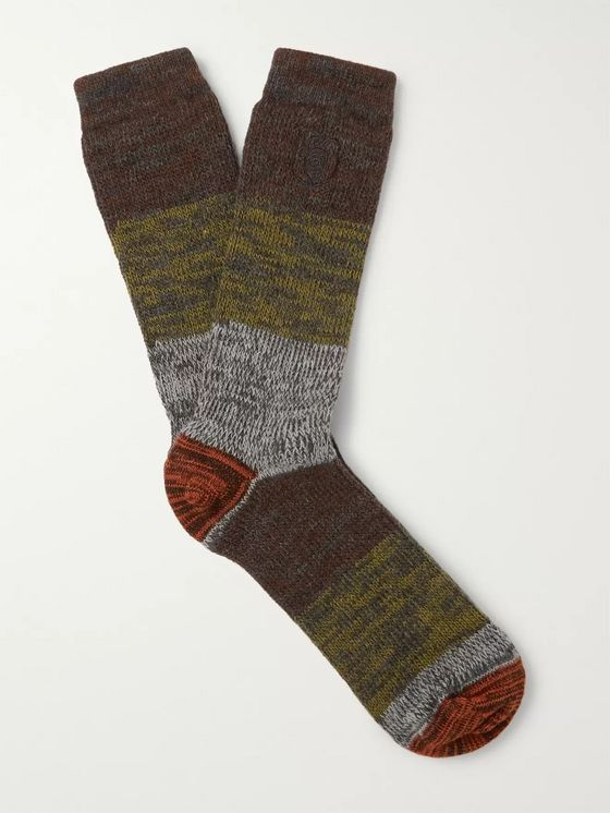 Loewe Eye/LOEWE/Nature Logo-Embroidered Striped Mélange Stretch-Knit Socks
