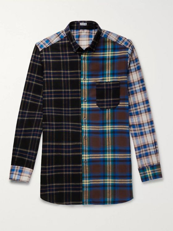 Loewe Eye/LOEWE/Nature Button-Down Collar Patchwork Checked Cotton-Flannel Overshirt