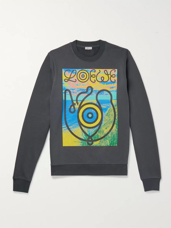 Loewe Eye/LOEWE/Nature Printed Fleece-Back Cotton-Jersey Sweatshirt