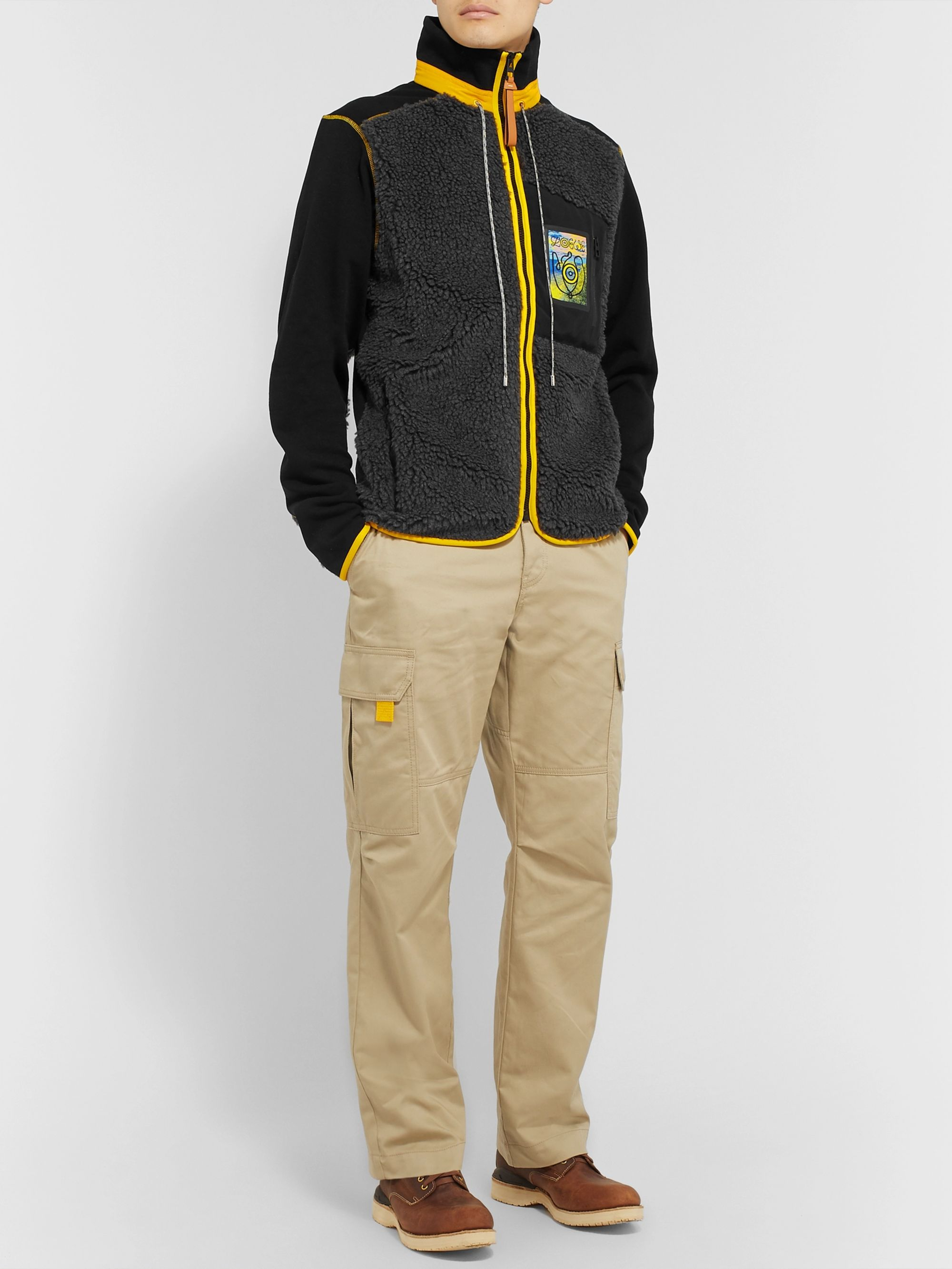 Loewe Eye/LOEWE/Nature Slim-Fit Logo-Appliquéd Fleece and Cotton-Jersey Jacket