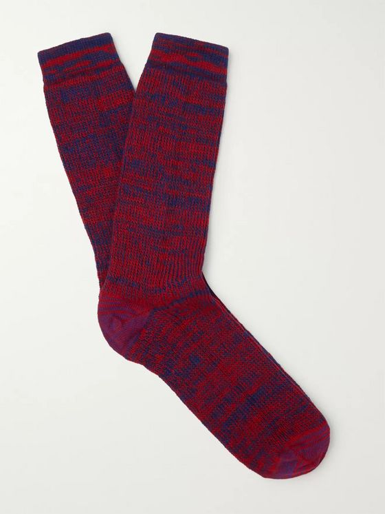 Loewe Eye/LOEWE/Nature Logo-Embroidered Mélange Stretch-Knit Socks