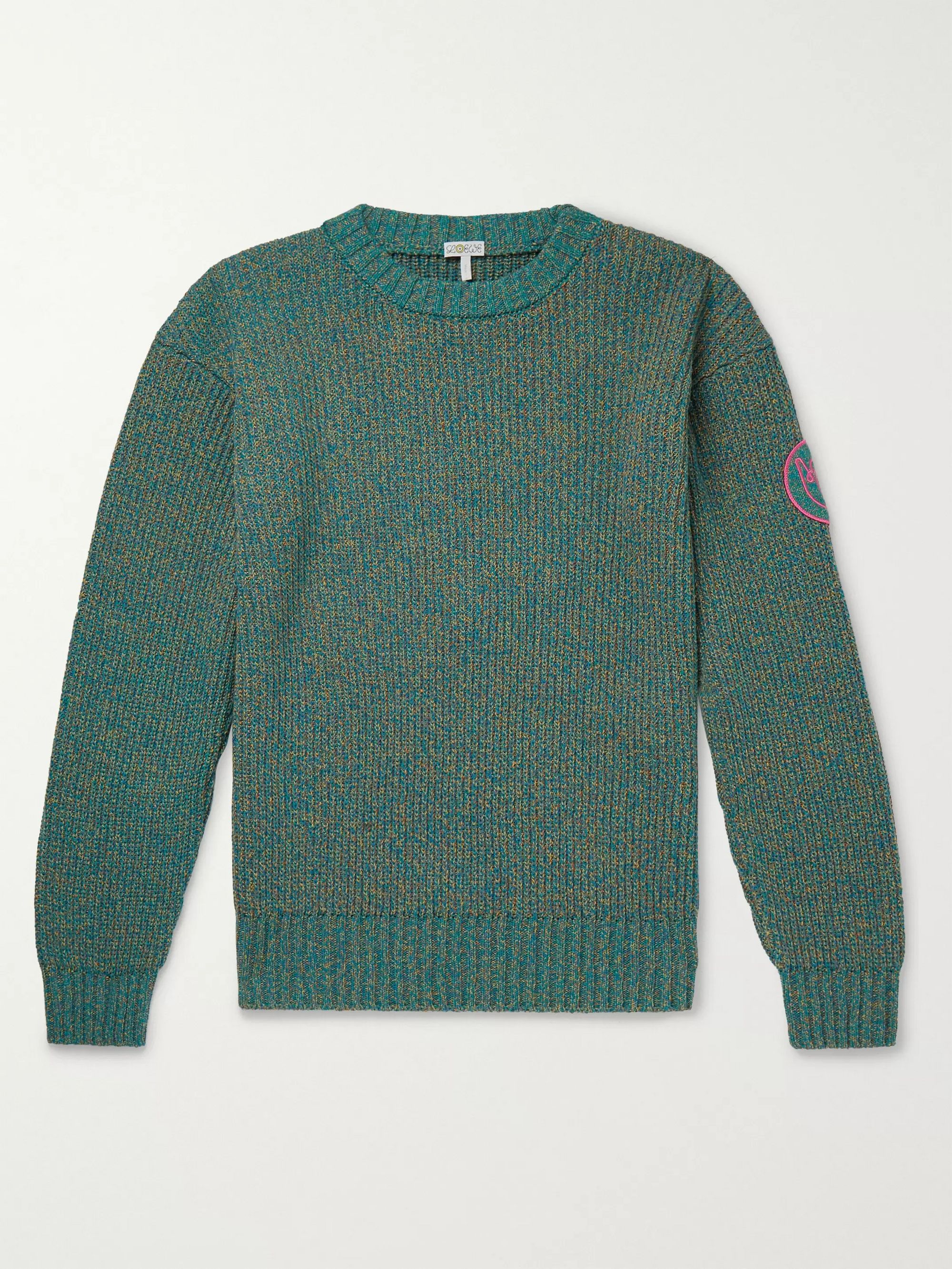 Loewe Eye/LOEWE/Nature Logo-Appliquéd Mélange Cotton-Blend Sweater