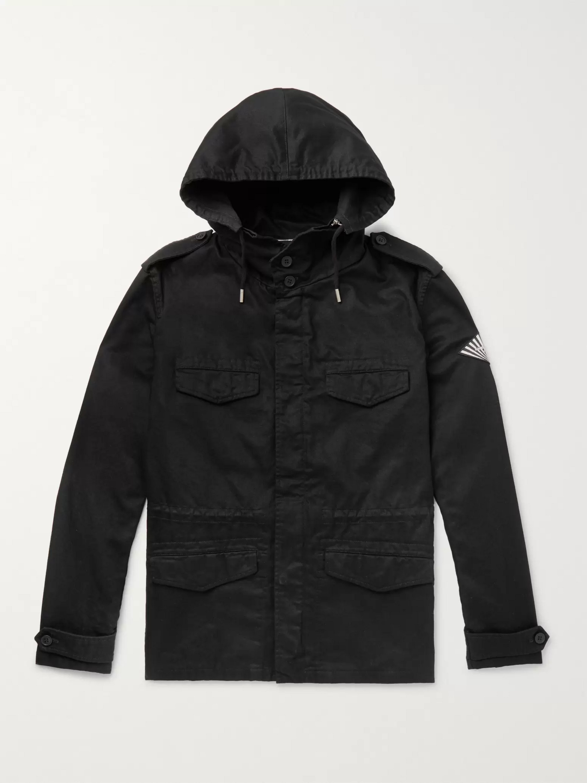 SAINT LAURENT Cotton and Ramie-Blend Twill Hooded Field Jacket