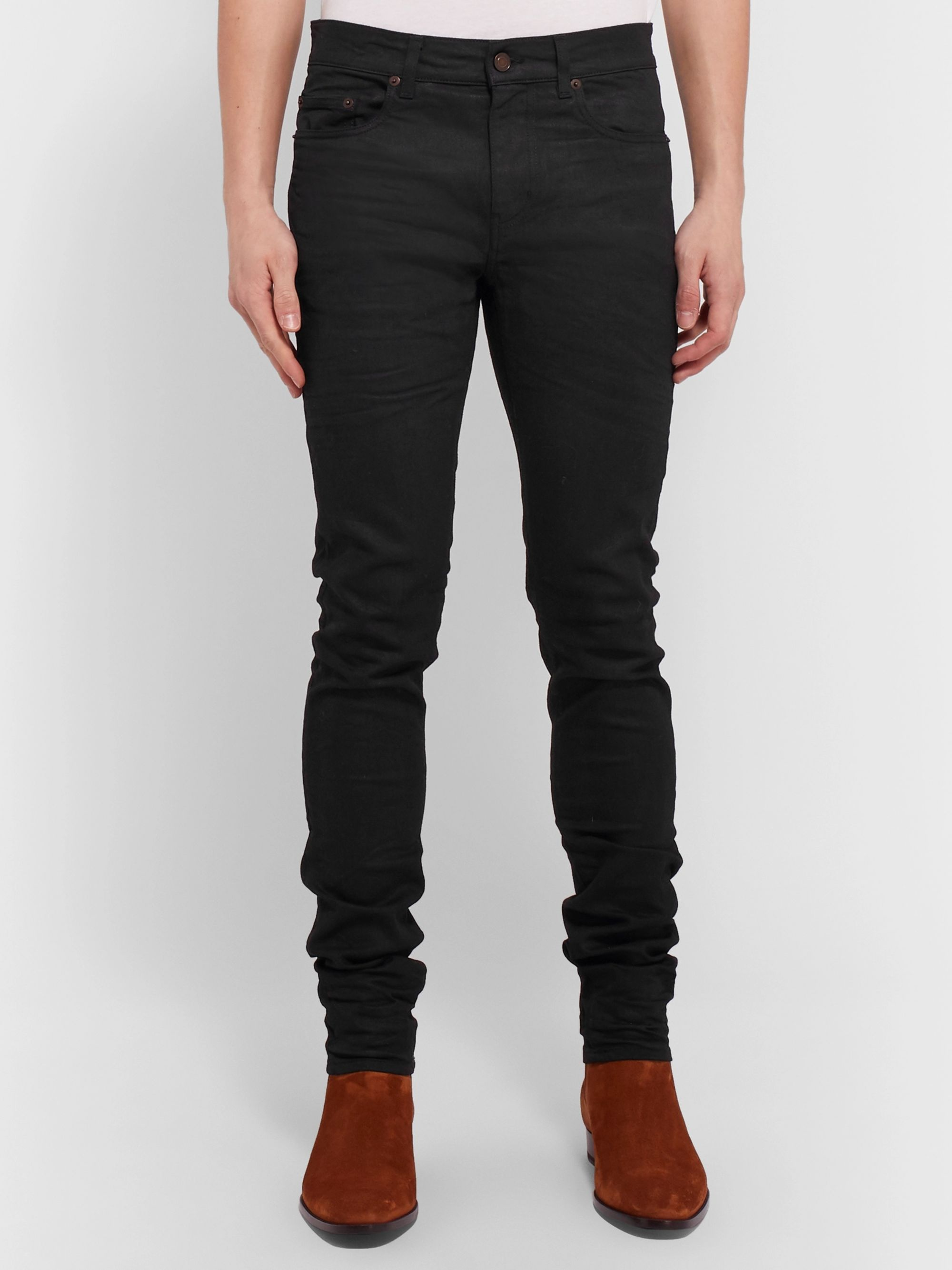 SAINT LAURENT Skinny-Fit 15cm Hem Coated-Denim Jeans