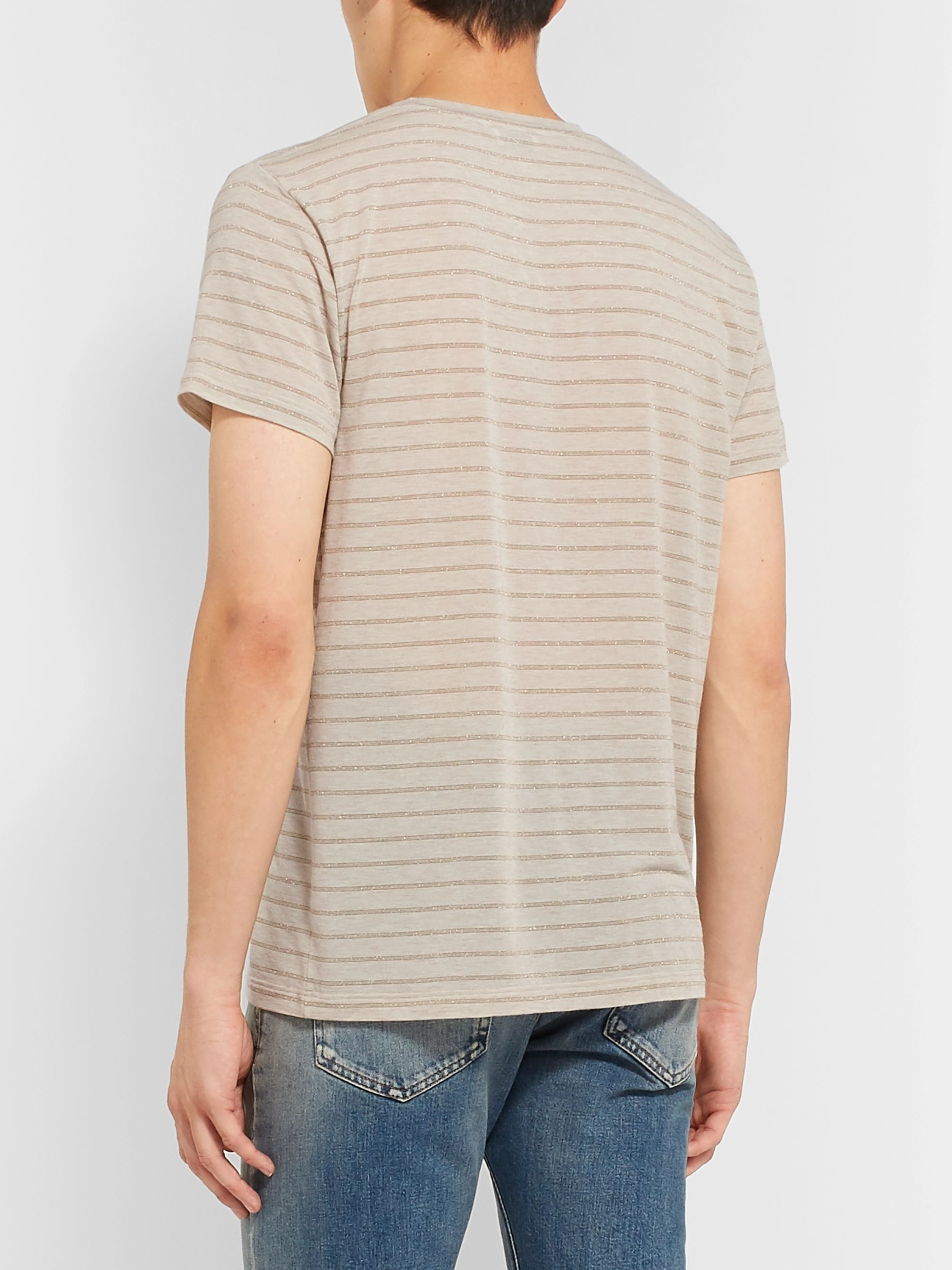 SAINT LAURENT Metallic Striped Modal-Blend Jersey T-shirt