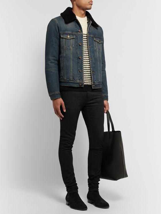 SAINT LAURENT Slim-Fit Shearling-Lined Denim Trucker Jacket