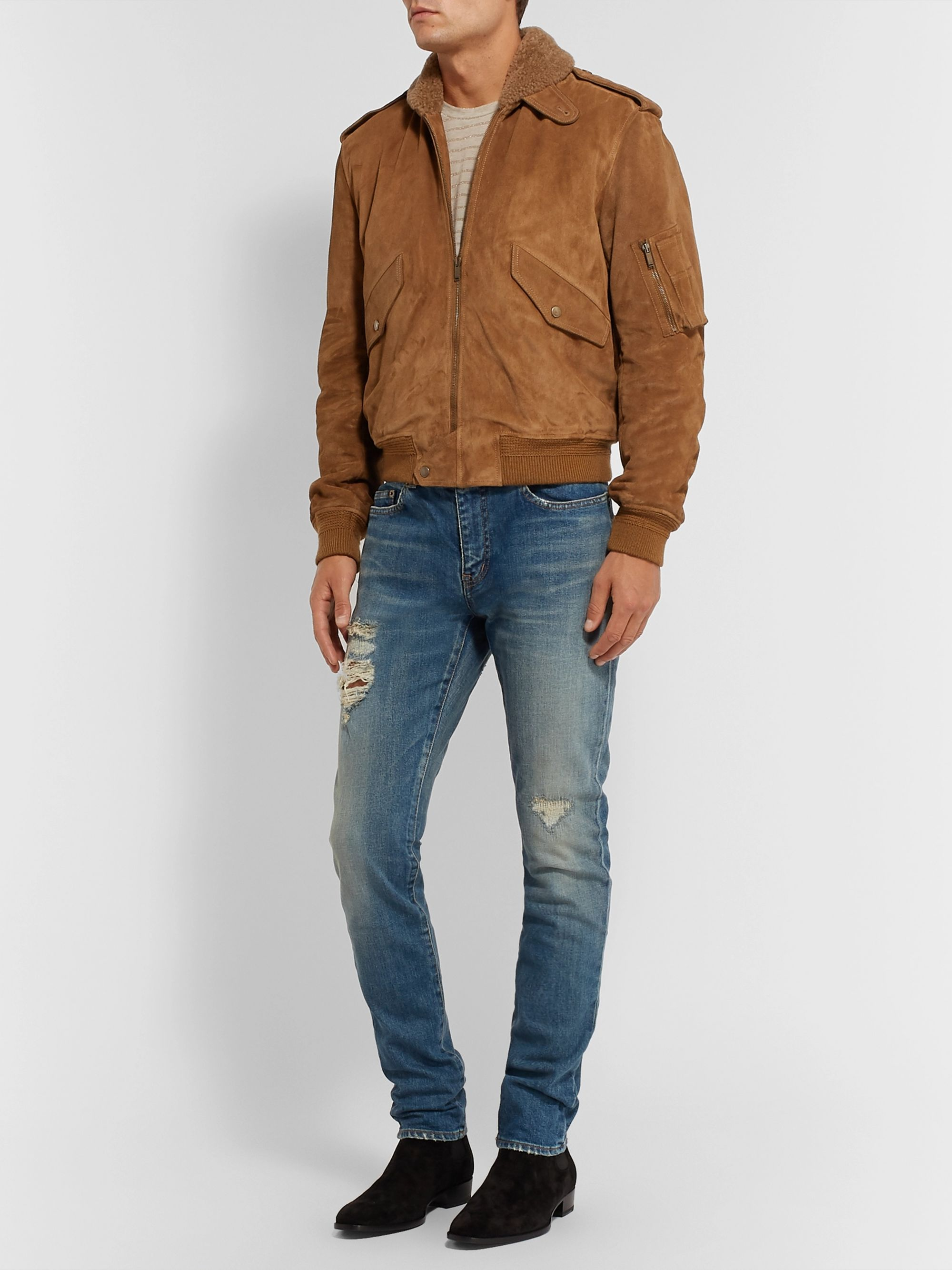 SAINT LAURENT Shearling-Lined Suede Aviator Jacket