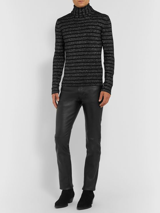 SAINT LAURENT Slim-Fit Leather Trousers
