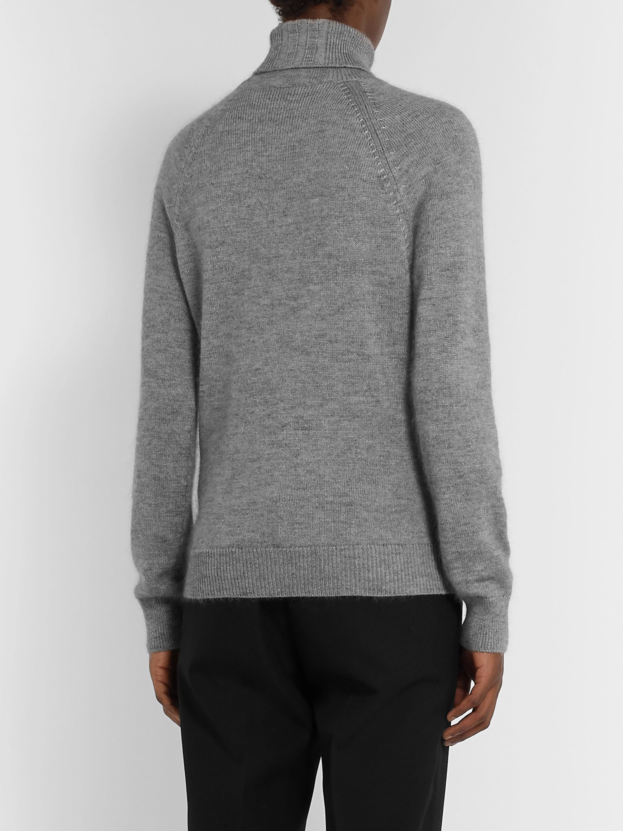 SAINT LAURENT Mélange Cashmere, Mohair and Silk-Blend Rollneck Sweater