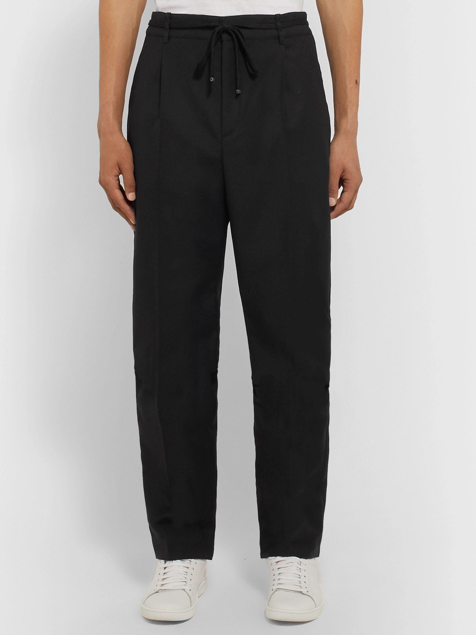 SAINT LAURENT Black Tapered Wool Drawstring Trousers