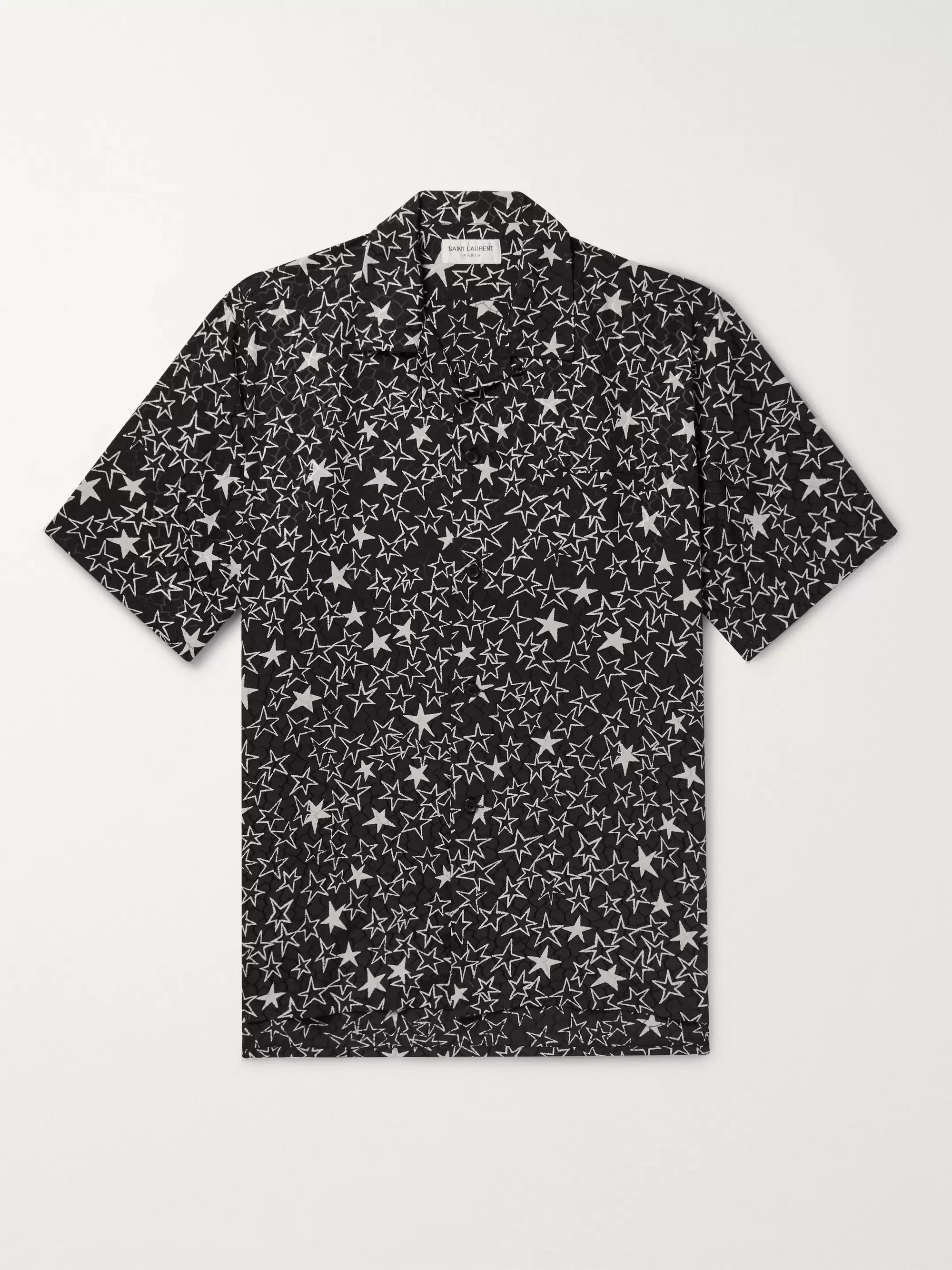 SAINT LAURENT Camp-Collar Printed Silk-Jacquard Shirt