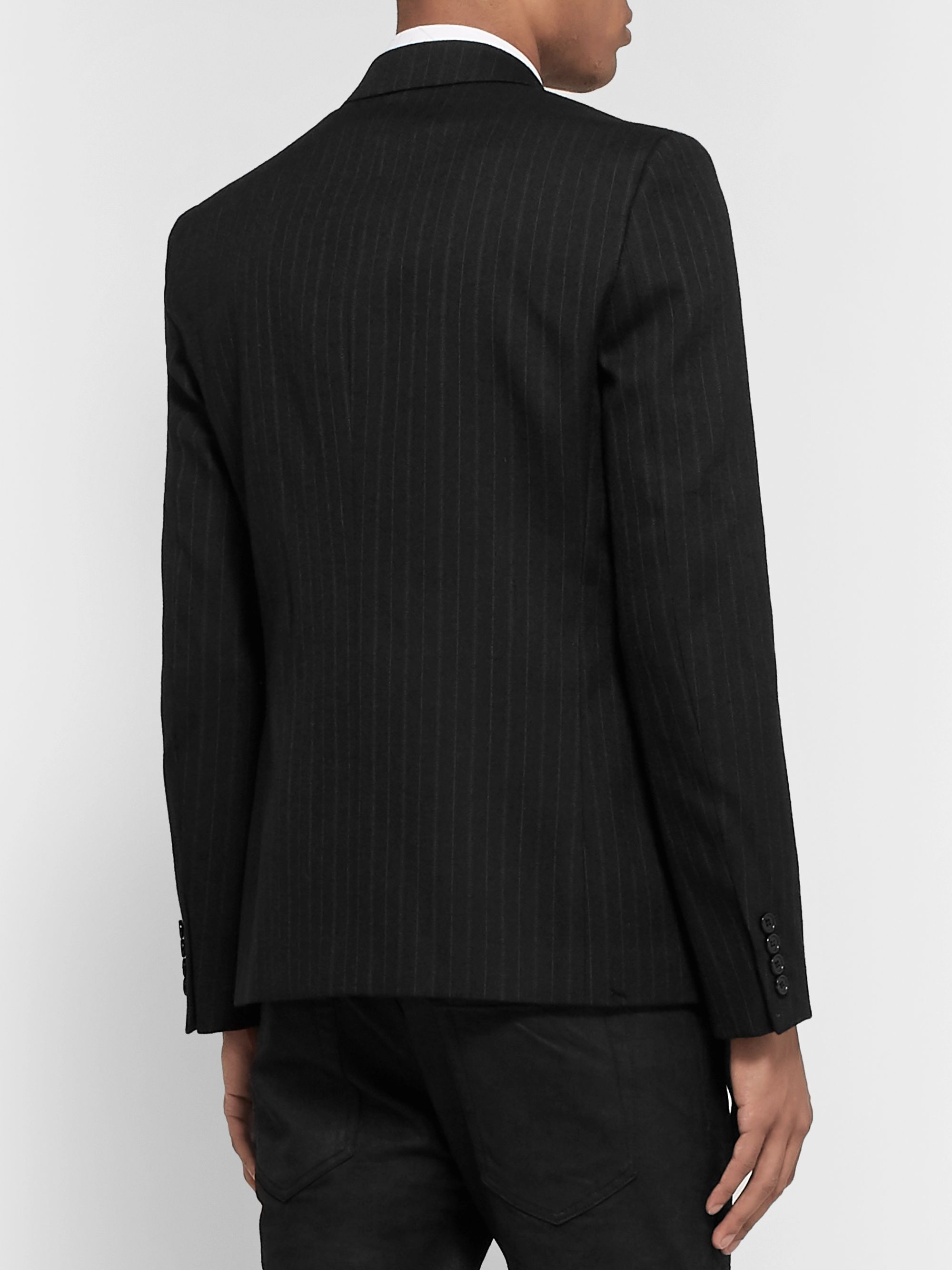 SAINT LAURENT Black Slim-Fit Double-Breasted Pinstriped Wool-Blend Blazer