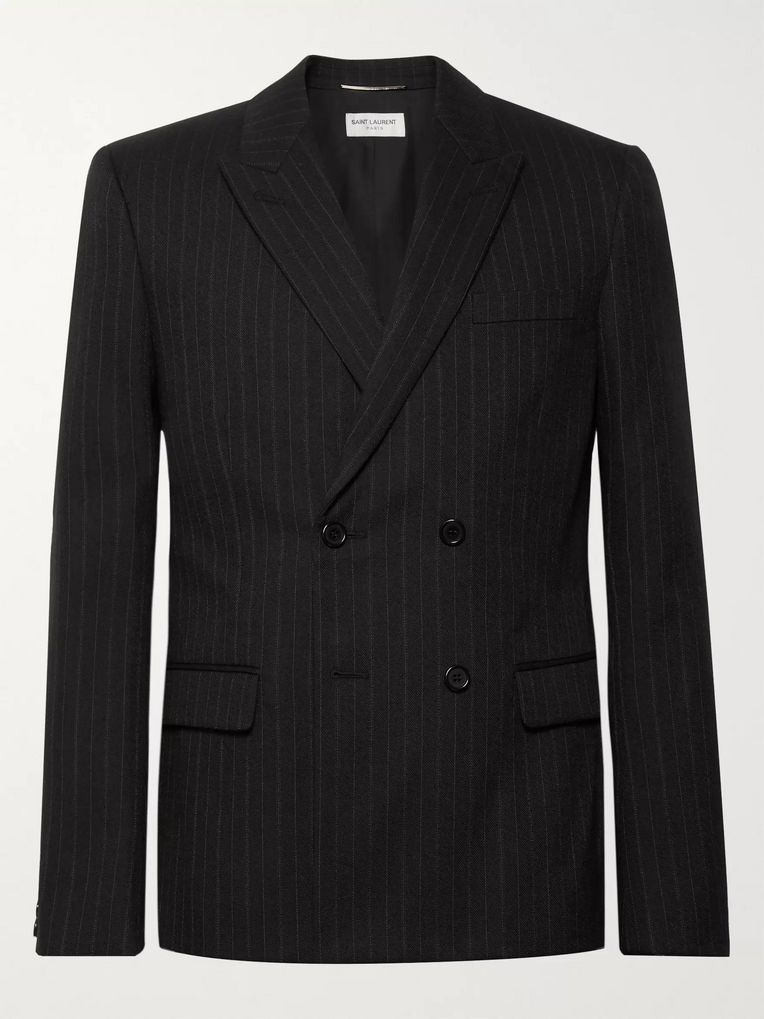 d5850d8ea Black Slim-Fit Double-Breasted Pinstriped Wool-Blend Blazer