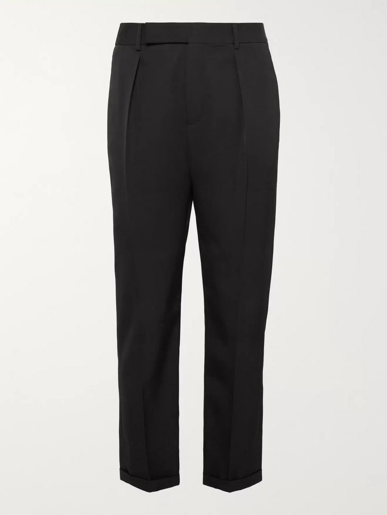 SAINT LAURENT Black Slim-Fit Tapered Pleated Wool-Gabardine Trousers