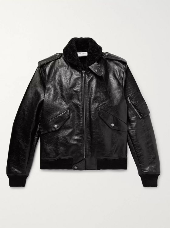 SAINT LAURENT Shearling-Lined Leather Aviator Jacket