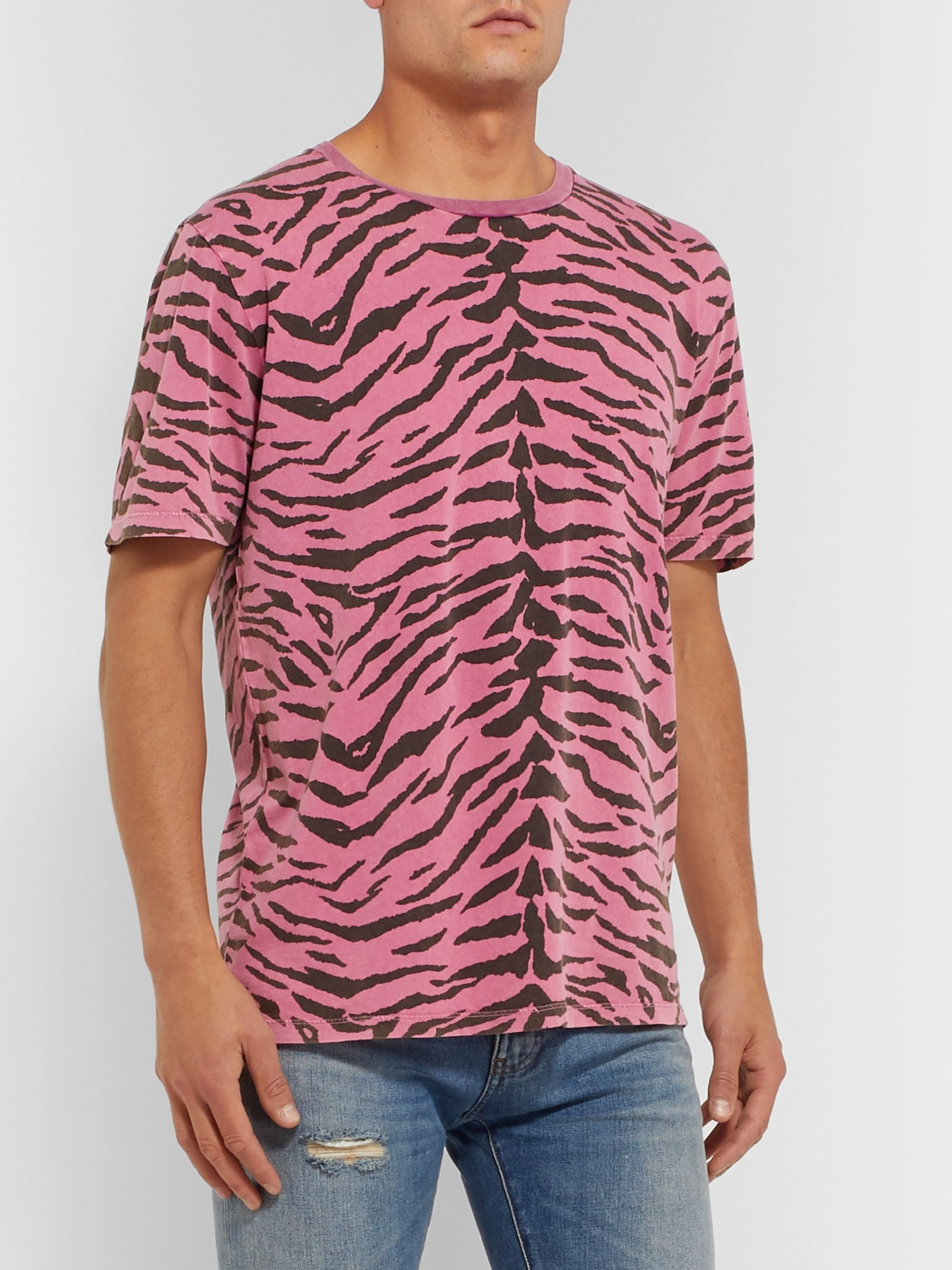 SAINT LAURENT Zebra-Print Cotton-Jersey T-Shirt