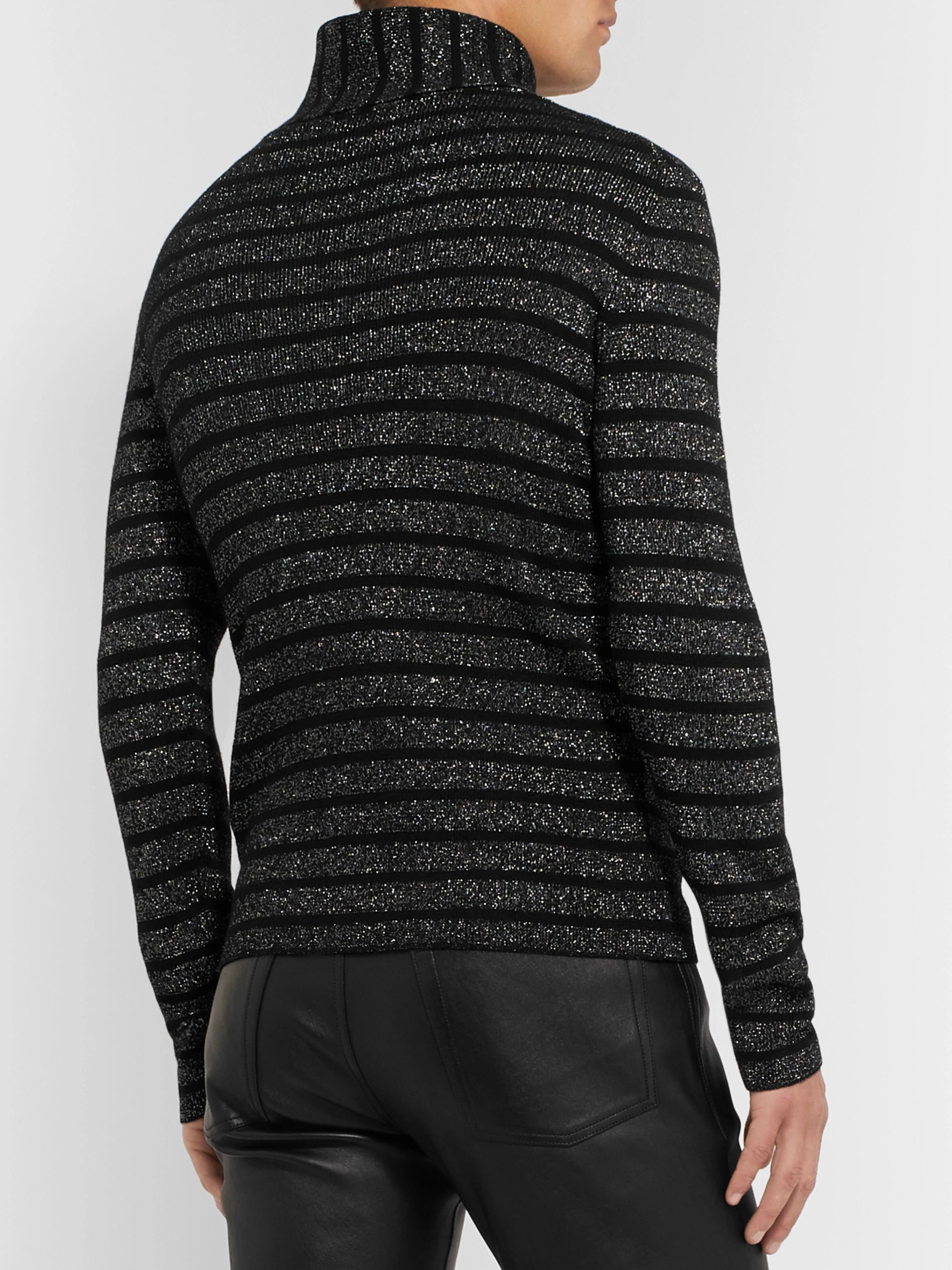 SAINT LAURENT Slim-Fit Striped Wool and Lurex-Blend Rollneck Sweater