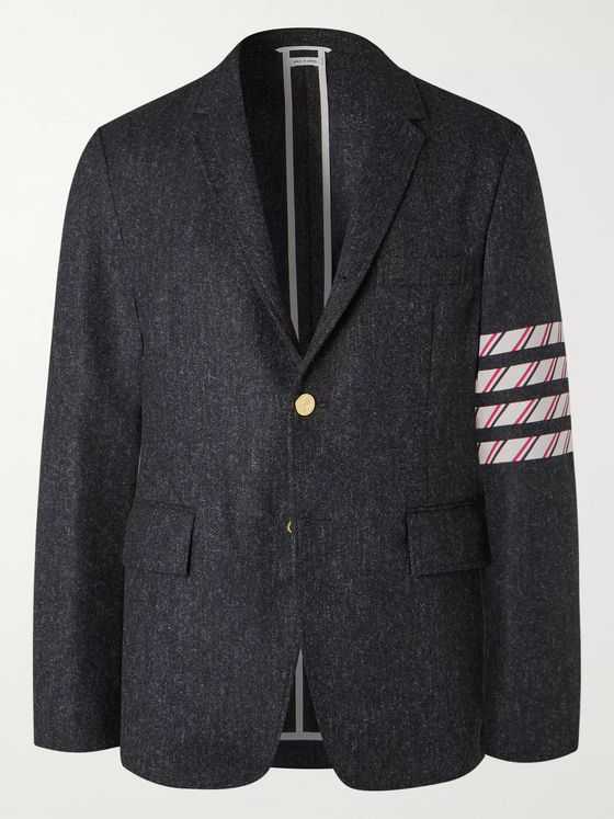 Thom Browne Navy Slim-Fit Unstructured Striped Donegal Wool-Tweed Blazer